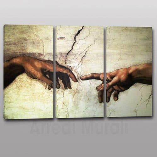 Tris quadri moderni Creazione di Adamo riproduzione su 3 tele