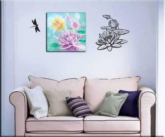 adesivi murali fiori quadro moderno