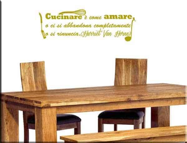 Adesivo murale frase cucina for Paraschizzi adesivo cucina