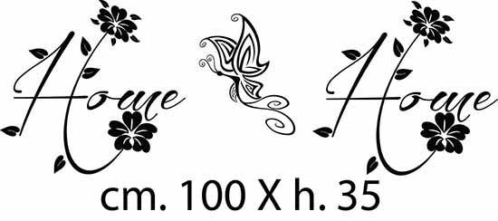 adesivi murali 2 con scritta adesiva home e 1 farfalla adesiva da applicare ai lati del quadro