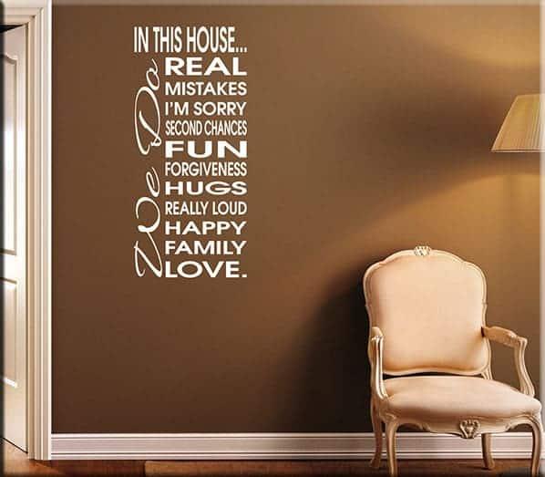adesivo da parete frase house