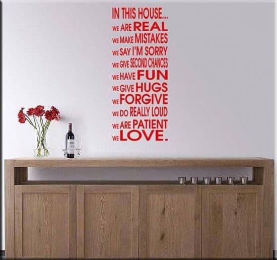 adesivo da parete house frase