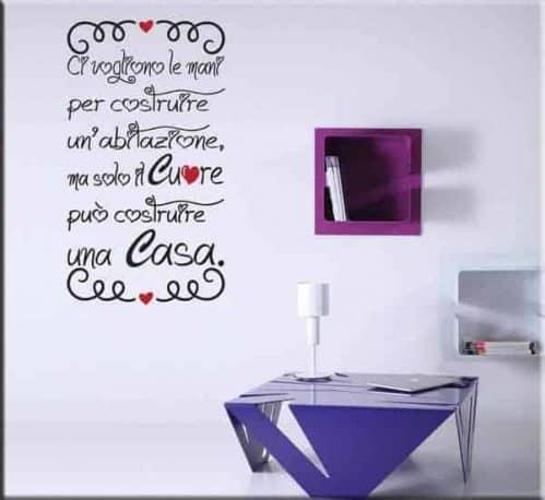 adesivo murale frase casa