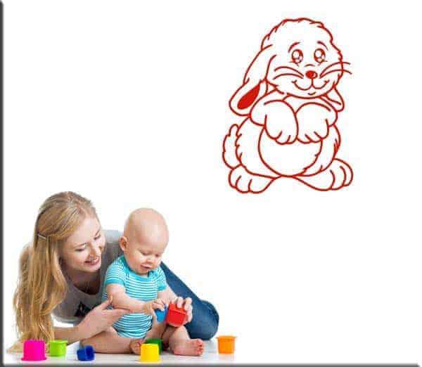 decorazione adesiva bambini coniglio coniglietto