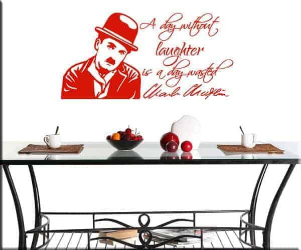 decorazione adesiva da muro frase Chaplin