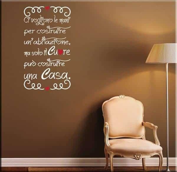 decorazione adesiva da muro frase casa