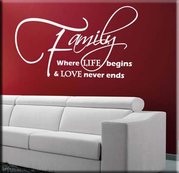 decorazione adesiva frase family