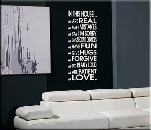 decorazione adesiva house frase