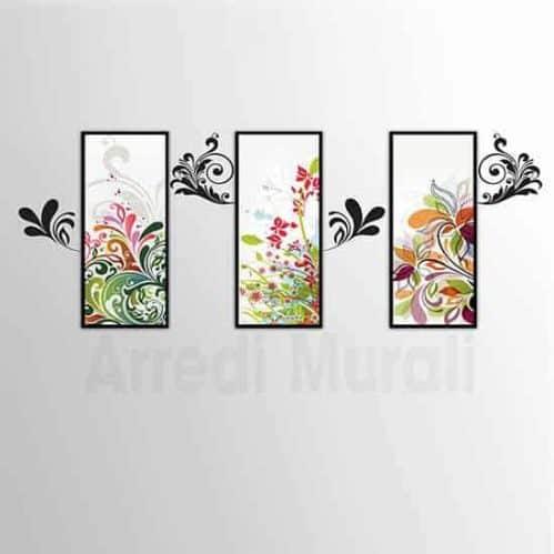 3 quadri moderni abbinati ad adesivi murali floreali due decorazioni da parete che insieme si completano