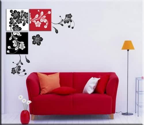quadri moderni e adesivi murali floreali