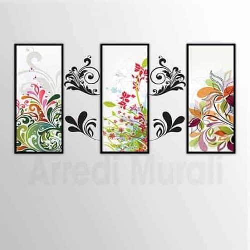 quadri moderni adesivi murali insieme 3 quadri che si completano con gli sticker da parete in stile floreale