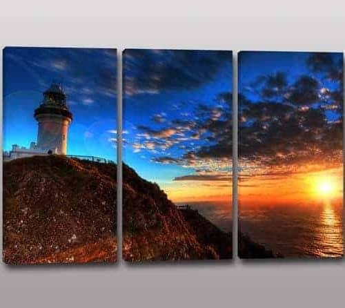 quadri moderni faro tramonto