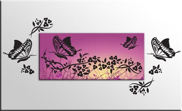 quadro adesivi murali fiori farfalle