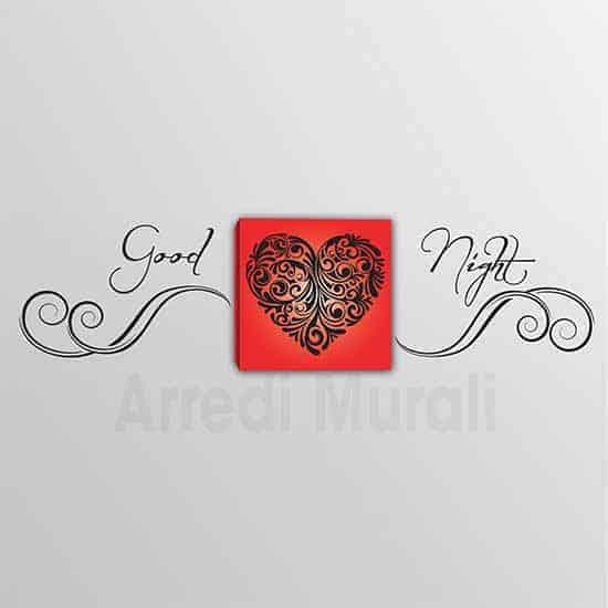Quadro cuore e scritta adesiva Good Night 2 decorazioni in una per arredare con stile la tua camera da letto