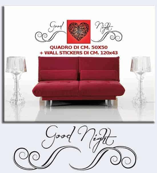 Quadro con cuore e scritta adesiva Good Night 2 decorazioni in una per arredare con stile la tua camera da letto