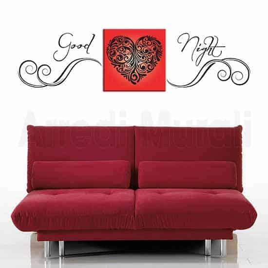 Quadro cuore e adesivi murali con scritta adesiva good night da applicare sui lati