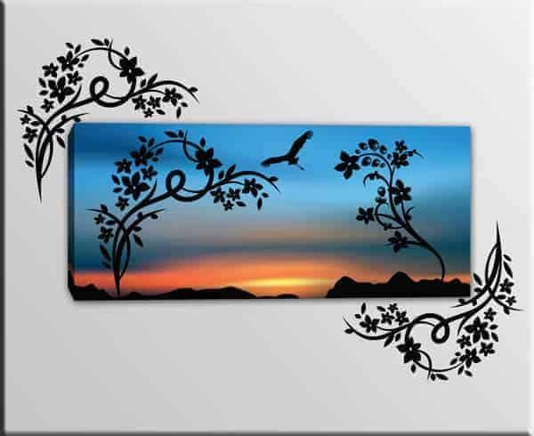 quadro moderno adesivi murali fiori