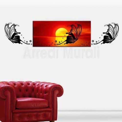 quadro moderno con stampa su tela di un tramonto con farfalla e 2 farfalle adesive che completeranno la decorazione da parete
