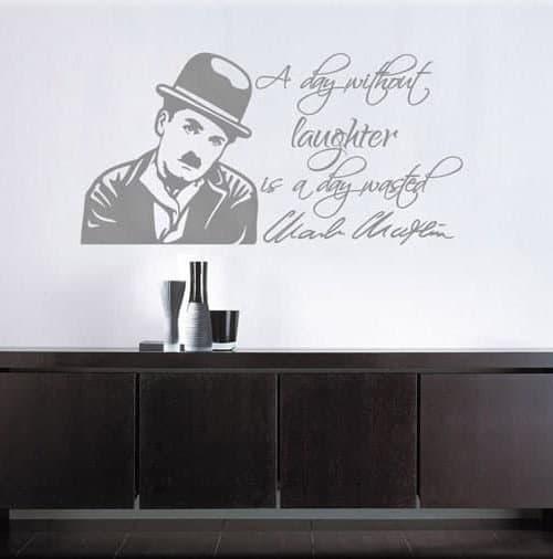 wall sticker frase Charlie Chaplin