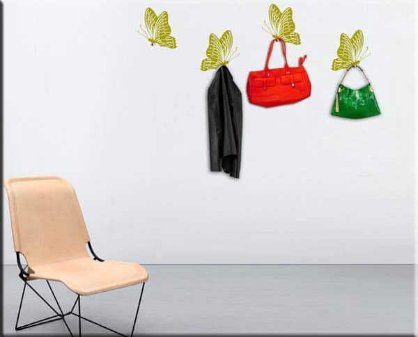 adesivi da parete appendiabiti 4 farfalle