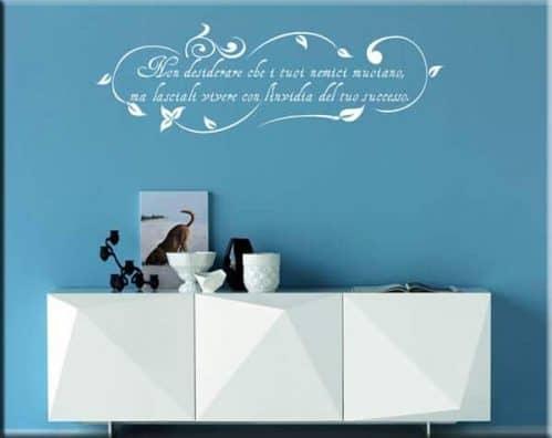 adesivo murale frase floreale