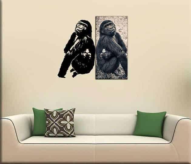 decorazioni murali quadro gorilla adesivo