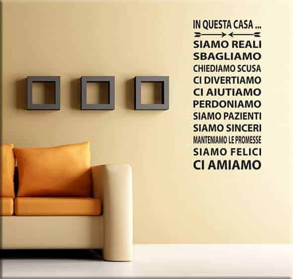 wall sticker frase questa casa