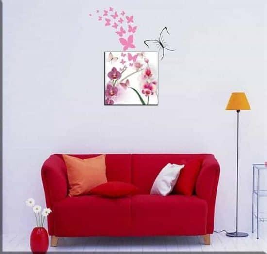 wall stickers farfalle e quadro moderno