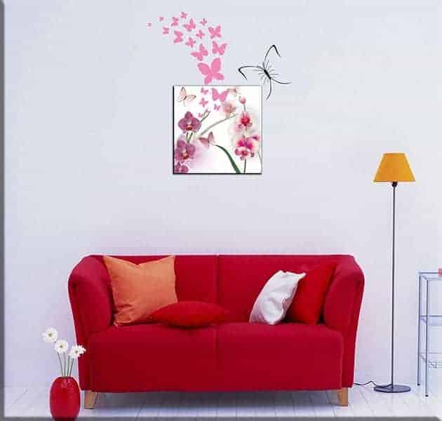 wall stickers farfalle e quadro moderno