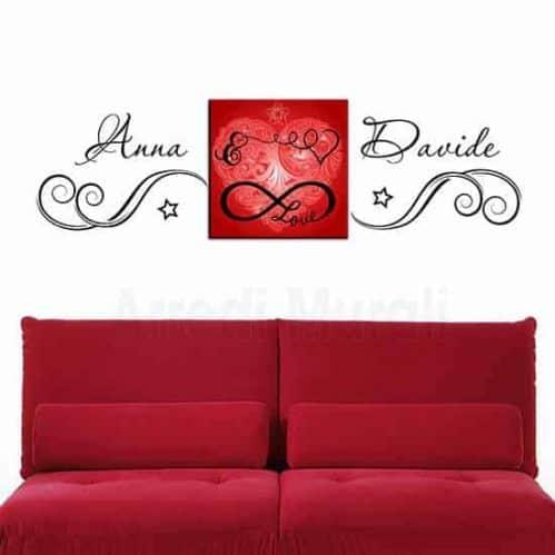 adesivi murali personalizzati abbinati a quadro love