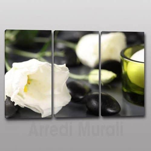 Quadri moderni fiori benessere 3 tele con fiori