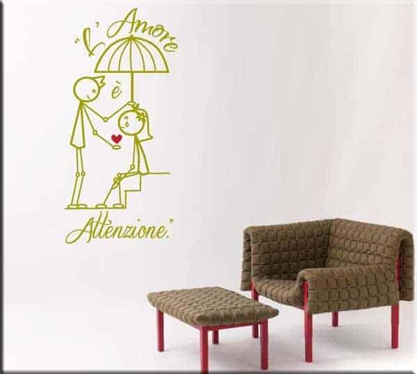 adesivi da parete amore attenzione disegno