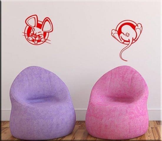 adesivi da parete buchi topi bambini