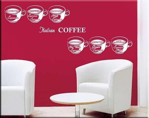 adesivi da parete coffee bar caffè