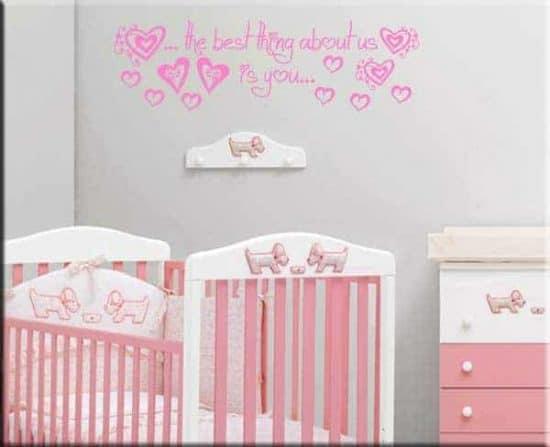 adesivi da parete frase bebè love