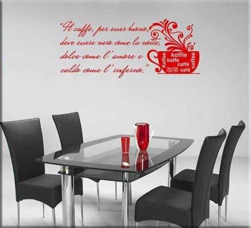 adesivi da parete frase caffè bar