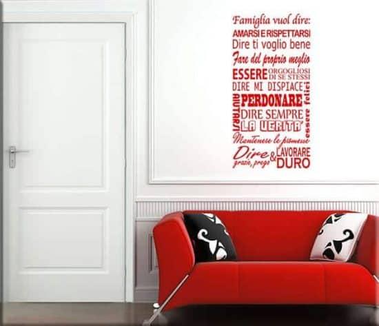 adesivi da parete frasi famiglia