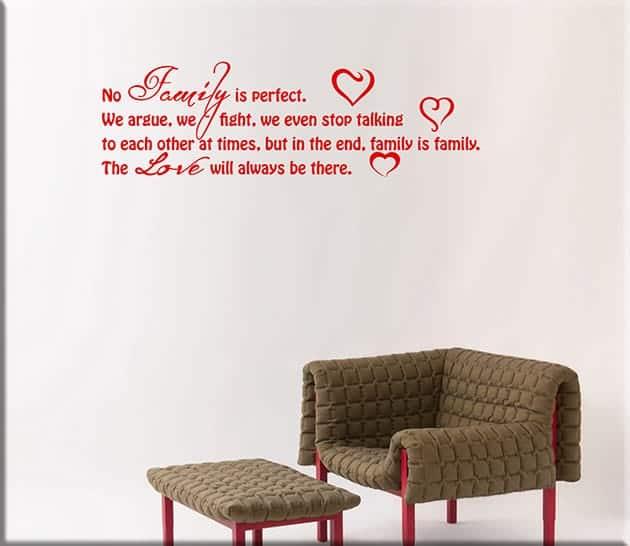 adesivi da parete frasi love family