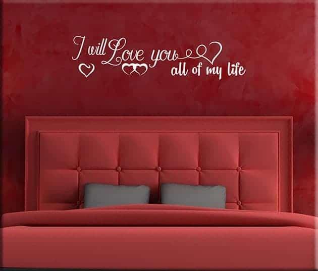 adesivi da parete love frase life
