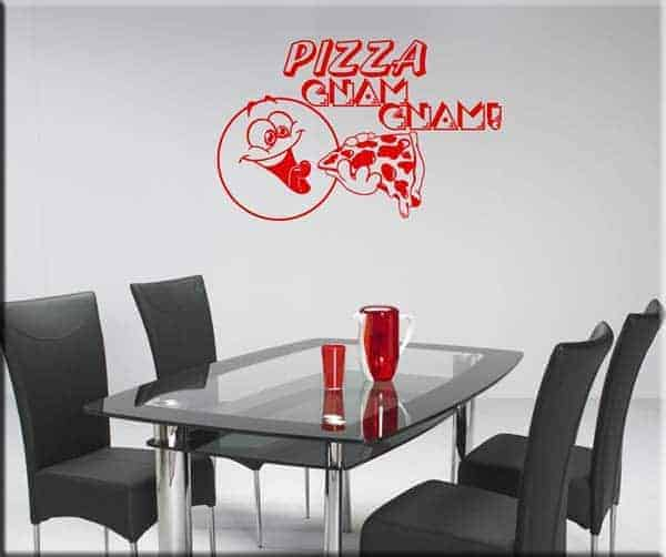 adesivi da parete pizza gnam