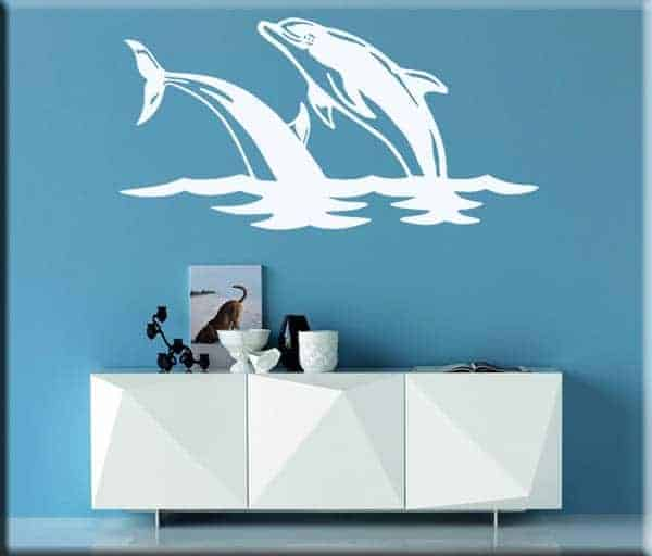 adesivi da parete salto delfini