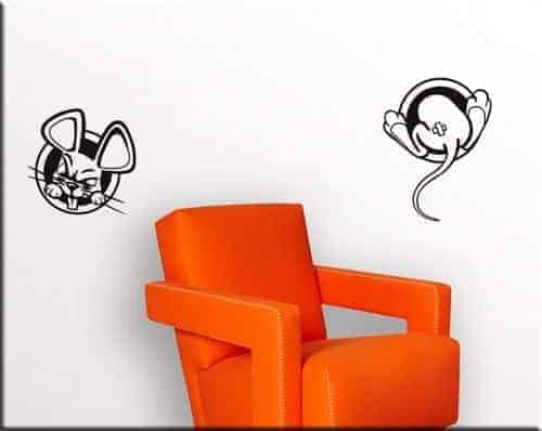 adesivi murali buchi topi bambini