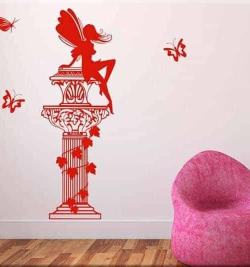 adesivi murali colonna fantasy farfalle