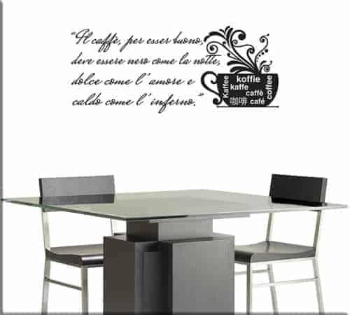 adesivi murali frase caffè bar