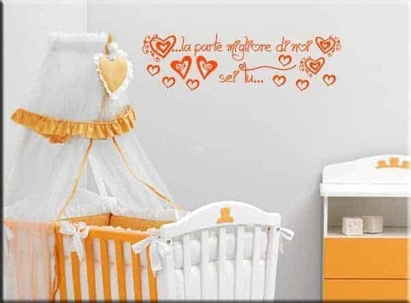 adesivi murali frase love bebè