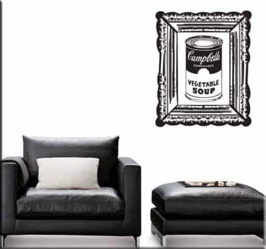 adesivo murale arte Warhol campbell