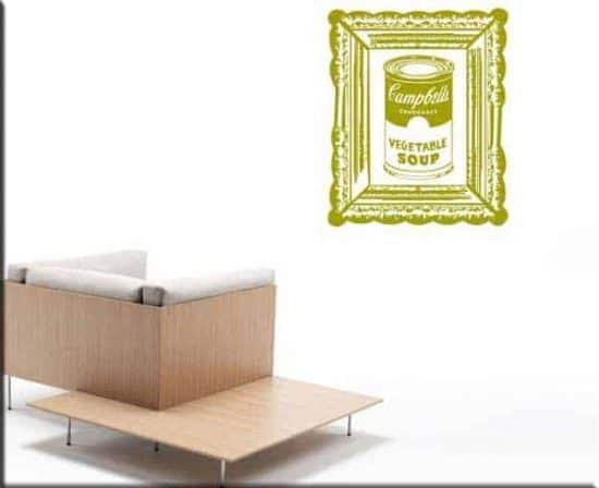 decorazione adesiva Warhol campbell's soup