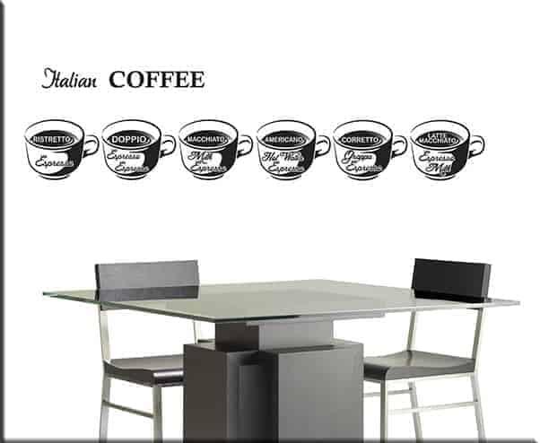 decorazioni adesive murali coffee bar caffè