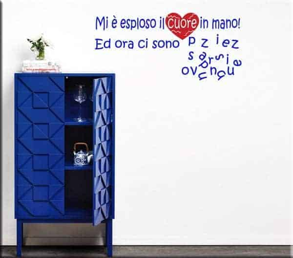 decorazioni adesive murali frasi cuore in pezzi