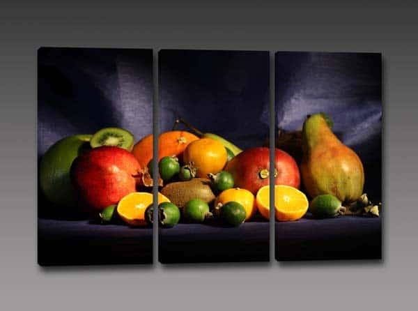 tris quadri moderni cucina frutta